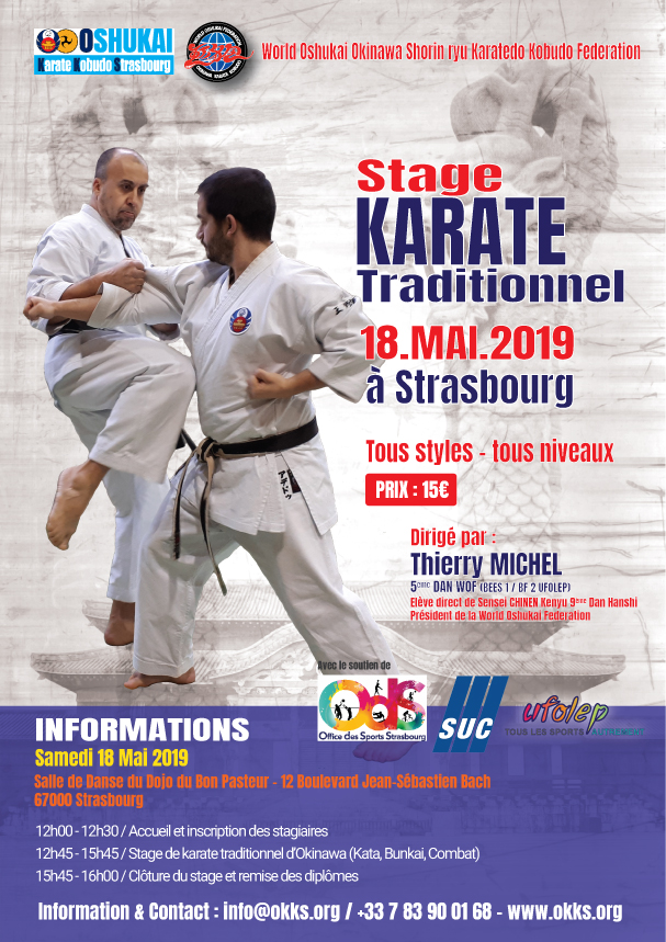Stage de Karate traditionnel d'Okinawa à Strasbourg 18 mai 2019